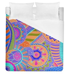 Pop Art Paisley Flowers Ornaments Multicolored 3 Duvet Cover (queen Size)