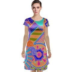 Pop Art Paisley Flowers Ornaments Multicolored 3 Cap Sleeve Nightdress