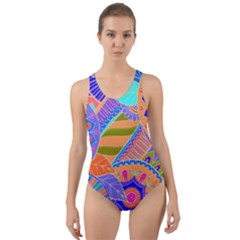 Pop Art Paisley Flowers Ornaments Multicolored 3 Cut Out Back One Piece Swimsuit