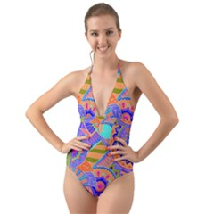 Pop Art Paisley Flowers Ornaments Multicolored 3 Halter Cut Out One Piece Swimsuit