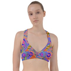 Pop Art Paisley Flowers Ornaments Multicolored 3 Sweetheart Sports Bra