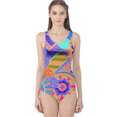 Pop Art Paisley Flowers Ornaments Multicolored 3 One Piece Swimsuit