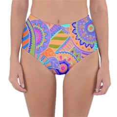 Pop Art Paisley Flowers Ornaments Multicolored 3 Reversible High Waist Bikini Bottoms