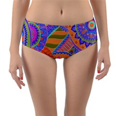 Pop Art Paisley Flowers Ornaments Multicolored 3 Reversible Mid Waist Bikini Bottoms