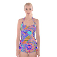 Pop Art Paisley Flowers Ornaments Multicolored 3 Boyleg Halter Swimsuit