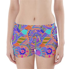 Pop Art Paisley Flowers Ornaments Multicolored 3 Boyleg Bikini Wrap Bottoms