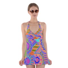Pop Art Paisley Flowers Ornaments Multicolored 3 Halter Dress Swimsuit