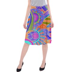 Pop Art Paisley Flowers Ornaments Multicolored 3 Midi Beach Skirt