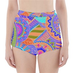 Pop Art Paisley Flowers Ornaments Multicolored 3 High Waisted Bikini Bottoms