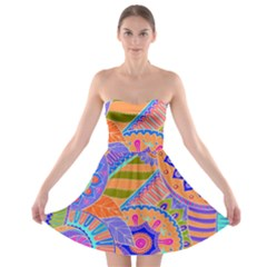 Pop Art Paisley Flowers Ornaments Multicolored 3 Strapless Bra Top Dress