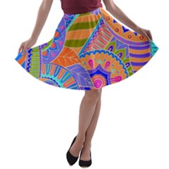 Pop Art Paisley Flowers Ornaments Multicolored 3 A Line Skater Skirt