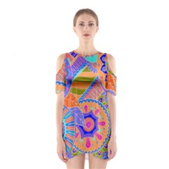 Pop Art Paisley Flowers Ornaments Multicolored 3 Shoulder Cutout One Piece