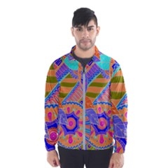 Pop Art Paisley Flowers Ornaments Multicolored 3 Windbreaker (men)