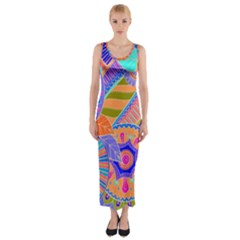 Pop Art Paisley Flowers Ornaments Multicolored 3 Fitted Maxi Dress