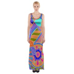 Pop Art Paisley Flowers Ornaments Multicolored 3 Maxi Thigh Split Dress