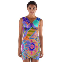 Pop Art Paisley Flowers Ornaments Multicolored 3 Wrap Front Bodycon Dress