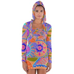 Pop Art Paisley Flowers Ornaments Multicolored 3 Long Sleeve Hooded T Shirt