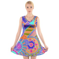 Pop Art Paisley Flowers Ornaments Multicolored 3 V Neck Sleeveless Dress