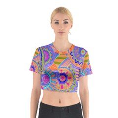 Pop Art Paisley Flowers Ornaments Multicolored 3 Cotton Crop Top