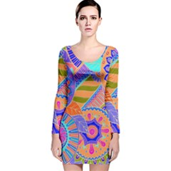 Pop Art Paisley Flowers Ornaments Multicolored 3 Long Sleeve Velvet Bodycon Dress