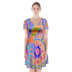 Pop Art Paisley Flowers Ornaments Multicolored 3 Short Sleeve V Neck Flare Dress