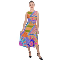 Pop Art Paisley Flowers Ornaments Multicolored 3 Midi Tie Back Chiffon Dress