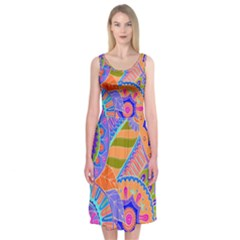Pop Art Paisley Flowers Ornaments Multicolored 3 Midi Sleeveless Dress