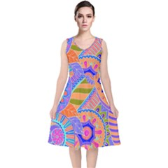 Pop Art Paisley Flowers Ornaments Multicolored 3 V Neck Midi Sleeveless Dress