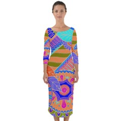 Pop Art Paisley Flowers Ornaments Multicolored 3 Quarter Sleeve Midi Bodycon Dress