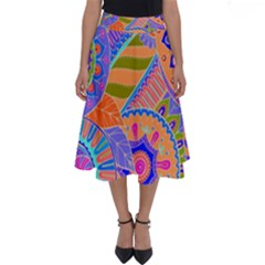 Pop Art Paisley Flowers Ornaments Multicolored 3 Perfect Length Midi Skirt