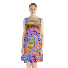 Pop Art Paisley Flowers Ornaments Multicolored 3 Sleeveless Waist Tie Chiffon Dress