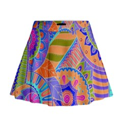 Pop Art Paisley Flowers Ornaments Multicolored 3 Mini Flare Skirt