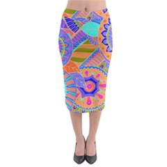 Pop Art Paisley Flowers Ornaments Multicolored 3 Midi Pencil Skirt