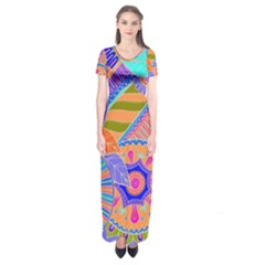 Pop Art Paisley Flowers Ornaments Multicolored 3 Short Sleeve Maxi Dress