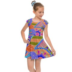 Pop Art Paisley Flowers Ornaments Multicolored 3 Kids Cap Sleeve Dress