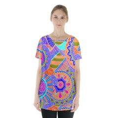 Pop Art Paisley Flowers Ornaments Multicolored 3 Skirt Hem Sports Top