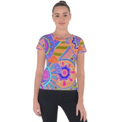 Pop Art Paisley Flowers Ornaments Multicolored 3 Short Sleeve Sports Top