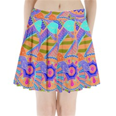 Pop Art Paisley Flowers Ornaments Multicolored 3 Pleated Mini Skirt