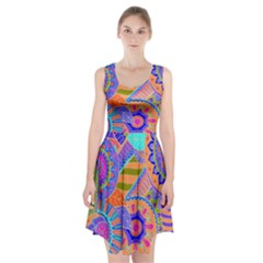 Pop Art Paisley Flowers Ornaments Multicolored 3 Racerback Midi Dress