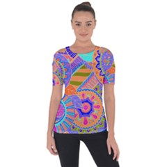 Pop Art Paisley Flowers Ornaments Multicolored 3 Short Sleeve Top