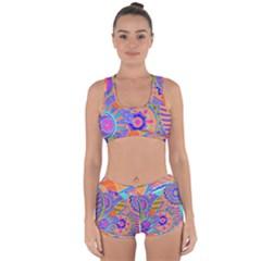 Pop Art Paisley Flowers Ornaments Multicolored 3 Racerback Boyleg Bikini Set