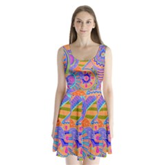 Pop Art Paisley Flowers Ornaments Multicolored 3 Split Back Mini Dress
