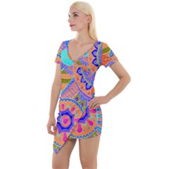 Pop Art Paisley Flowers Ornaments Multicolored 3 Short Sleeve Asymmetric Mini Dress