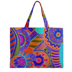 Pop Art Paisley Flowers Ornaments Multicolored 3 Zipper Medium Tote Bag