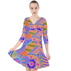Pop Art Paisley Flowers Ornaments Multicolored 3 Quarter Sleeve Front Wrap Dress
