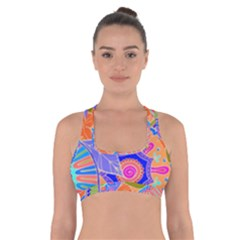 Pop Art Paisley Flowers Ornaments Multicolored 3 Cross Back Sports Bra