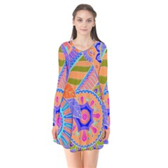 Pop Art Paisley Flowers Ornaments Multicolored 3 Long Sleeve V Neck Flare Dress