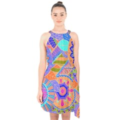 Pop Art Paisley Flowers Ornaments Multicolored 3 Halter Collar Waist Tie Chiffon Dress
