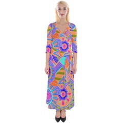 Pop Art Paisley Flowers Ornaments Multicolored 3 Quarter Sleeve Wrap Maxi Dress