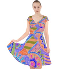 Pop Art Paisley Flowers Ornaments Multicolored 3 Cap Sleeve Front Wrap Midi Dress